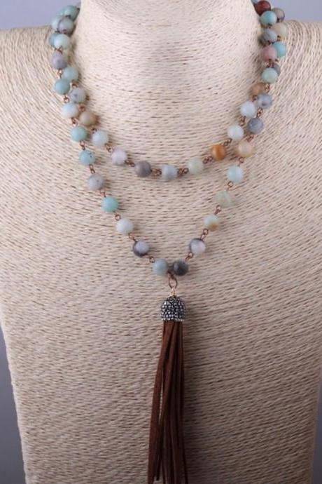 Women Necklace, Amazonite Stones, Hematite Crystal, Tassel Pendant Necklace , Women Jewelry, Natural Stones Necklace , Jewelry , Women Necklace , Long Necklace