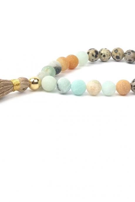 Tassel Bracelet ,Natural Stone Mala Beads Boho Bracelet for Women,Healing Bracelet,Jewelry,Beaded Bracelet , Bracelet