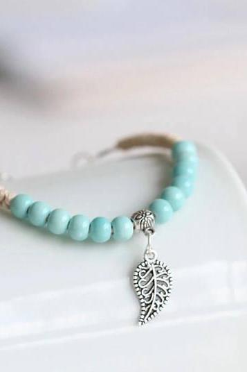 Bracelet for Women, White Clay Ceramic , Rope Chain Bracelet ,Charm Bracelet for Women , Jwelery for Women , Beaded Bracelet
