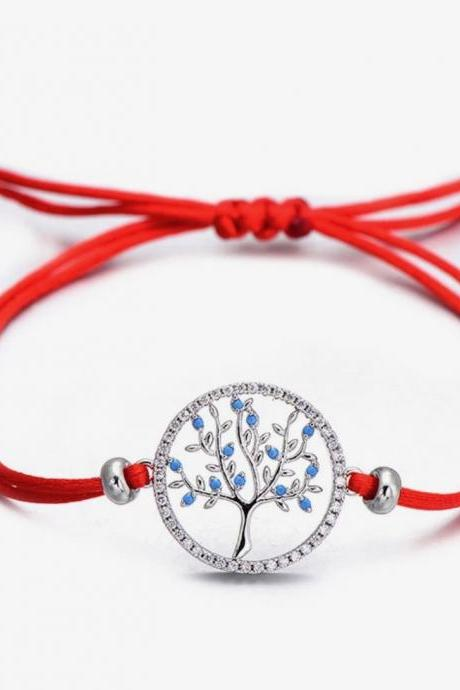 Charm Bracelet for Women, Blue Zircon Life Tree in Middle border with CZ stones Red String Bracelet , Popular right now,Mother's day gift